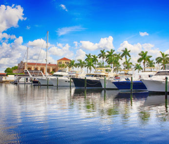 Boats in the Marina on the Manatee River at Bradenton, FL USA